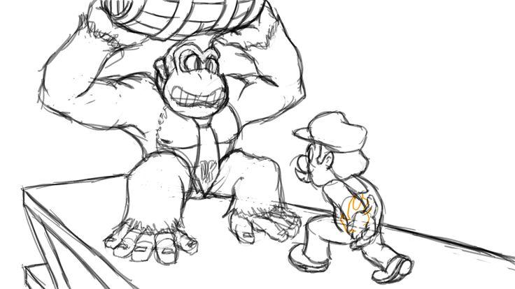 Donkey Kong Coloring Pages Cartoon