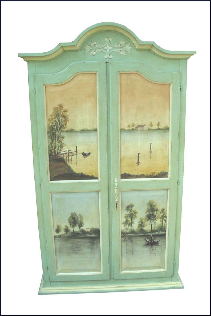 Armadietto da ingresso dipinto a mano con paesaggi