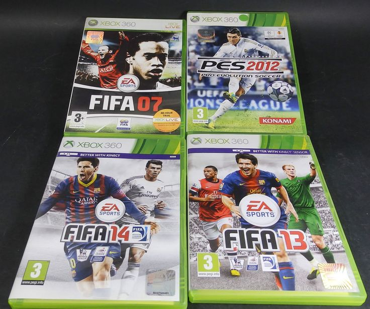 4 x XBox 360 Football Games - Fifa 07 / 13 / 14 & PES 2012