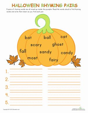 Halloween First Grade Phonics Handwriting Worksheets: Halloween Rhymes