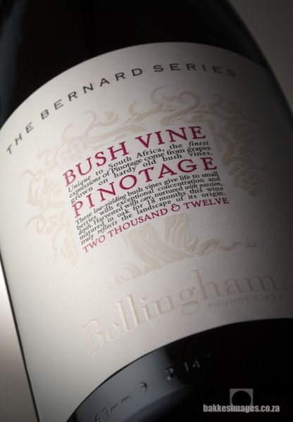 Wine Photography for Marketing & Advertising: Bellingham Bushvine Pinotage 2012. www.bakkesimages.co.za