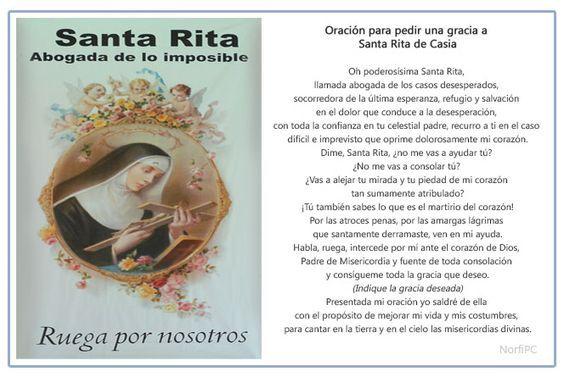 Imagen para imprimir de la oración para pedir una gracia a Santa Rita de Casia