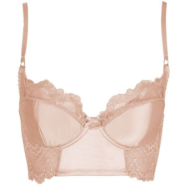 Topshop Satin Bralet ($30) ❤ liked on Polyvore featuring intimates, bralette lingerie, underwire bra and satin lingerie