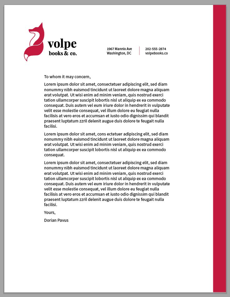the letterhead! The logo size is probably a little big, but this is the general idea.