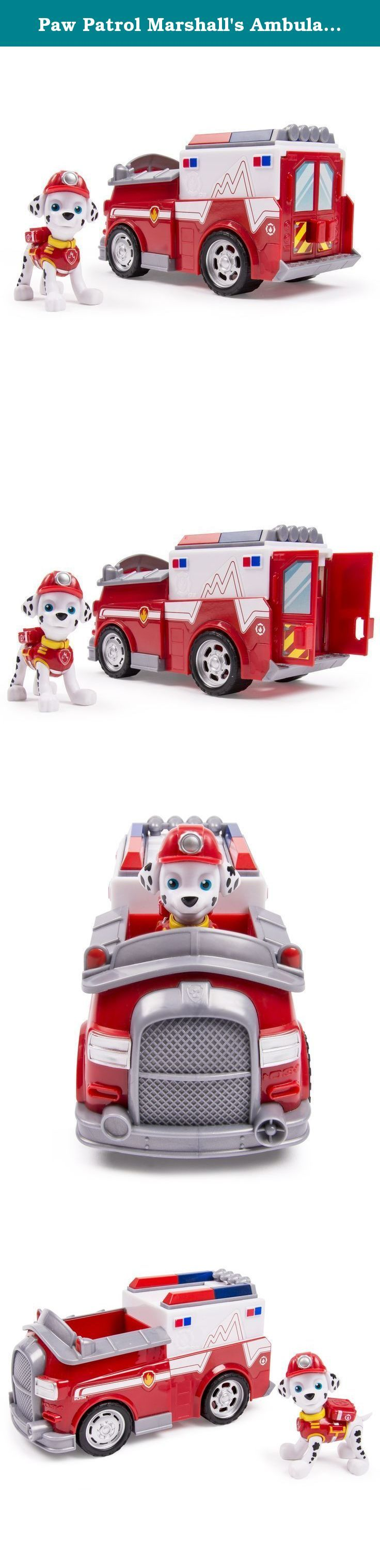 Paw Patrol Marshall's Ambulance, Vehicle and Figure (works with Paw Patroller). No job is too big and no pup is too small! Now you can reenact new rescue scenes with EMT Marshall and his new EMT Ambulance! All of your favorite Paw Patrol characters are ready to save the day. Race to the ruff-ruff rescue with EMT Marshall! Together, your child's imagination will be lit up with pup inspired rescue missions full of friendship, teamwork and bravery. With EMT Marshall Pup and EMT Ambulance you...