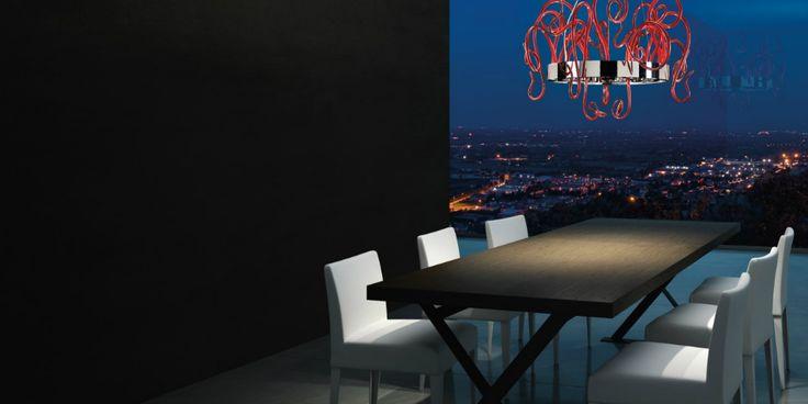 Leucos Aspid una collezione di lampade con riccioli in vetro di diversi colori!