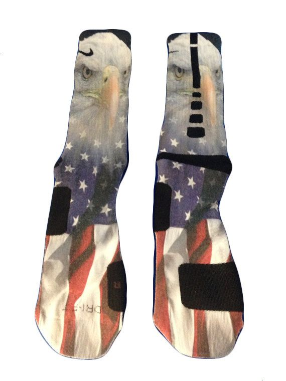 Nike Elite Socks_American Flag with Eagle by CreatedbyMaMa on Etsy