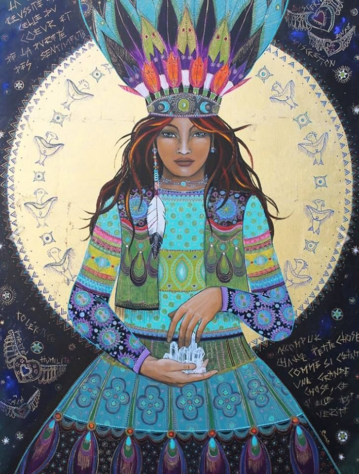 Rise up, Medicine Woman. Share your powerful gift with the world. The Heavens delight in your love and the stars sparkle with your essence. Heal. Spread healing. Love. Be love. It is You.  -Myrriah Jannette   Art by Caroline Maniere