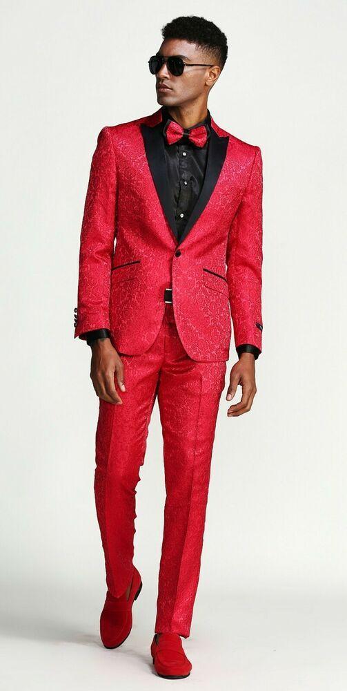 73e6c4f6558 Tuxedo Slim Fit Suit 1 Button Suit fancy design solid pants,vest Red Tux  #Tazio #1button