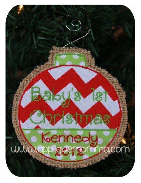 Baby's 1st Christmas Ornament Applique Design