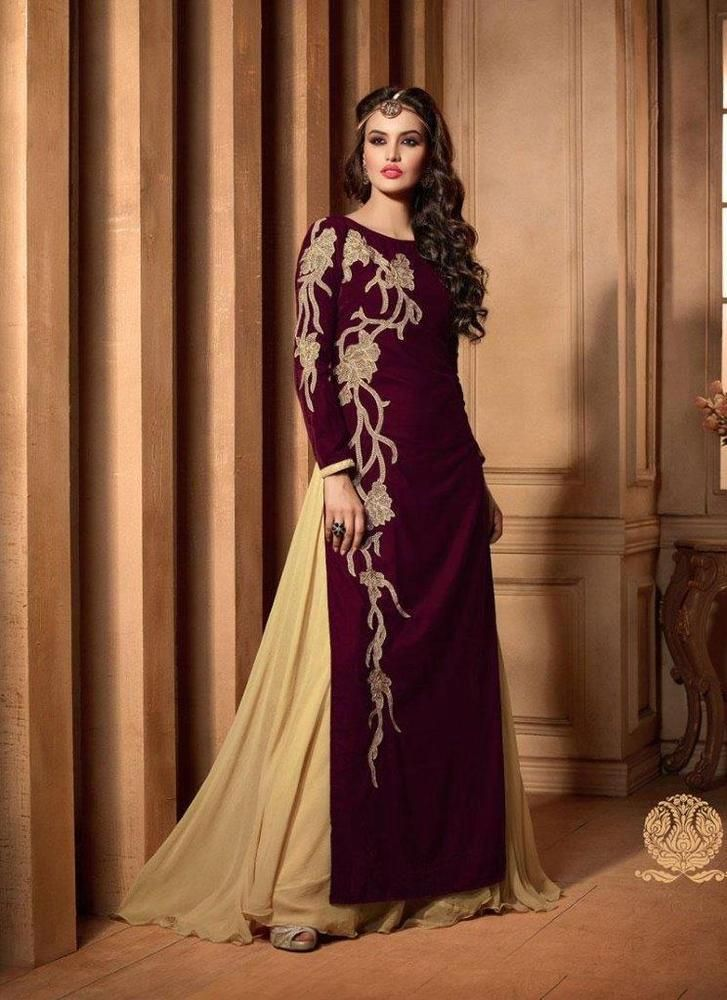 Wedding Party Indian Maroon Bollywood Pakistani Designer Anarkali Salwar Suit172…