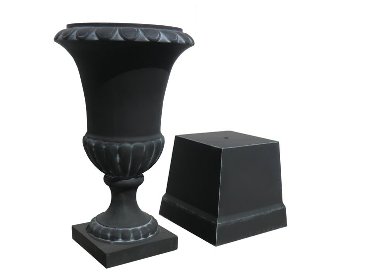 Tall Outdoor Planters And Urns With Classic Black Theme