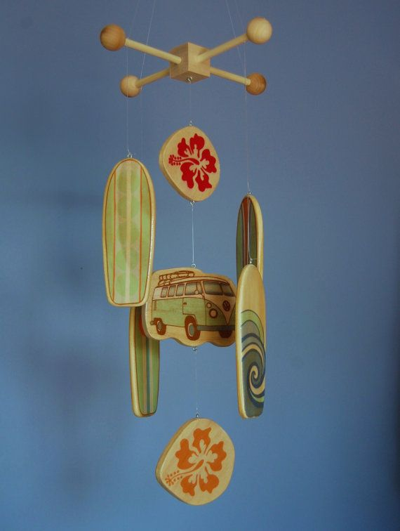 So cute for a beach baby room. Surfboard Baby Mobile  Volkswagon Bus and by outofthebox on Etsy, $75.00