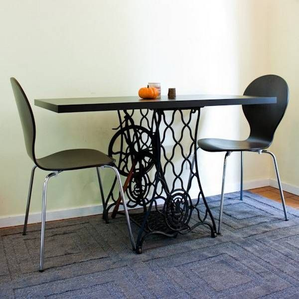 25 creative and modern ideas to reuse and recycle cast iron bases of vintage sewing machine provide inspirations for DIY furniture design