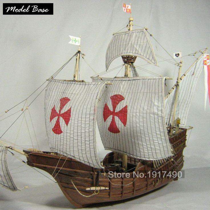 Wooden Ship Model Kits Train Hobby Model-Wood-Boats 3d Laser Cut Scale 1/50 Model-Ship-Assembly Diy Educational Santa Maria1492