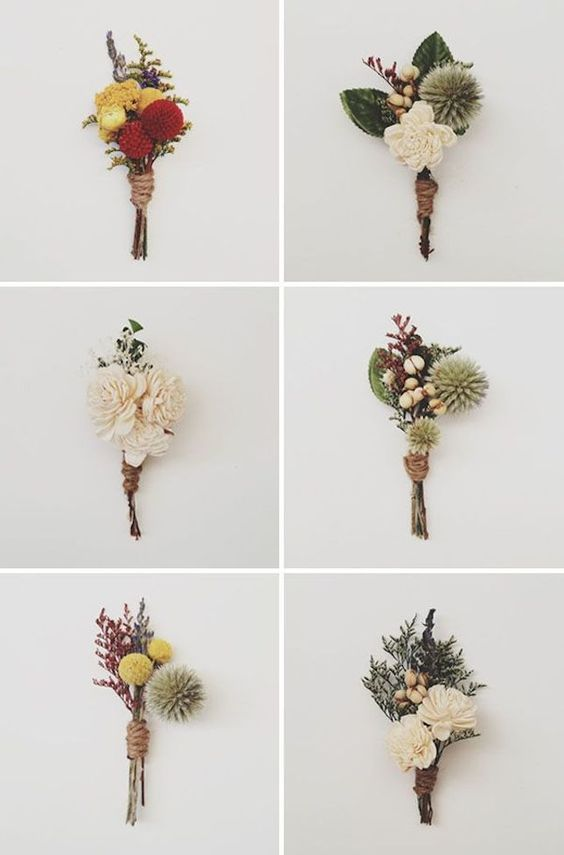 For a rustic wedding, these preserved boutonnieres would be perfect! We love every single design, they look amazing.
