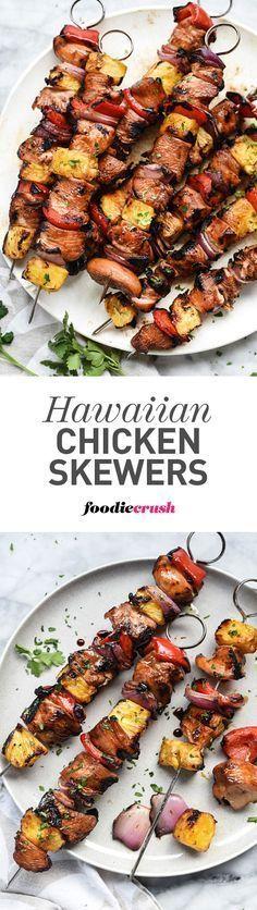 Hawaiian Chicken Skewers With I Wash You Dry: