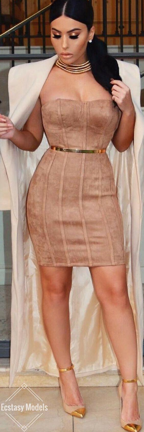 Shine. Slay. And Repeat // Dress @posh_shop_la , Coat @meshkiboutique  Belt @asos , Shoes @balmain // Fashion Look by  Amra Olević