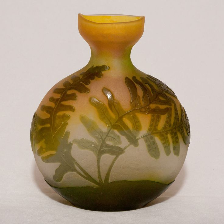 Emile Galle fern or  Fougeres  cameo glass vase