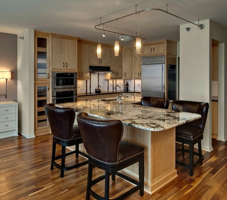 Condo Kitchen Designs For Modern Contemporary: Brown Leather Kitchen Chair  Brwon Wooden Kitchen Cabinets Luxury