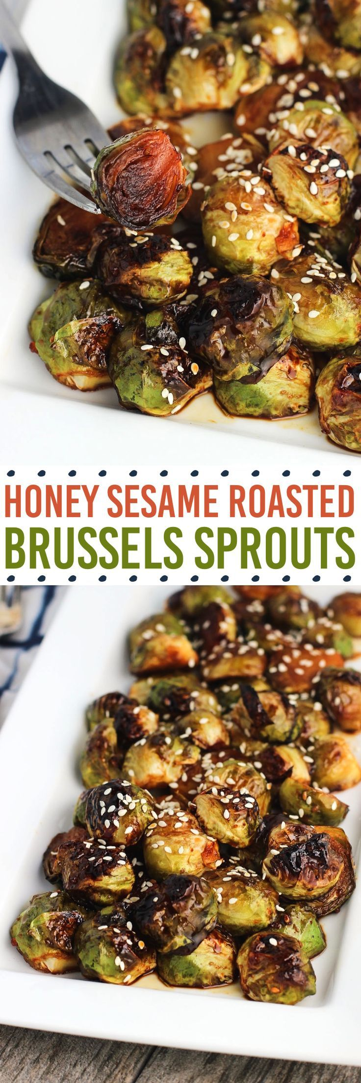 Honey Sesame Roasted Brussels Sprouts are a flavorful side dish with an easy, five-ingredient glaze.