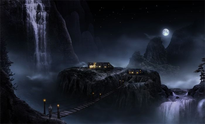 How to Create a Marvellous Night Landscape with Waterfalls Read more at http://www.photoshoptutorials.ws/photoshop-tutorials/photo-manipulation/create-marvellous-night-landscape-waterfalls/#oX3GvPe3I0zg9bVo.99