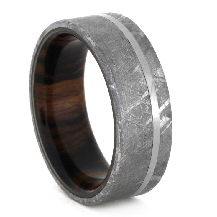 meteorite wedding ring with wood sleeve ironwood ring - Meteorite Wedding Ring