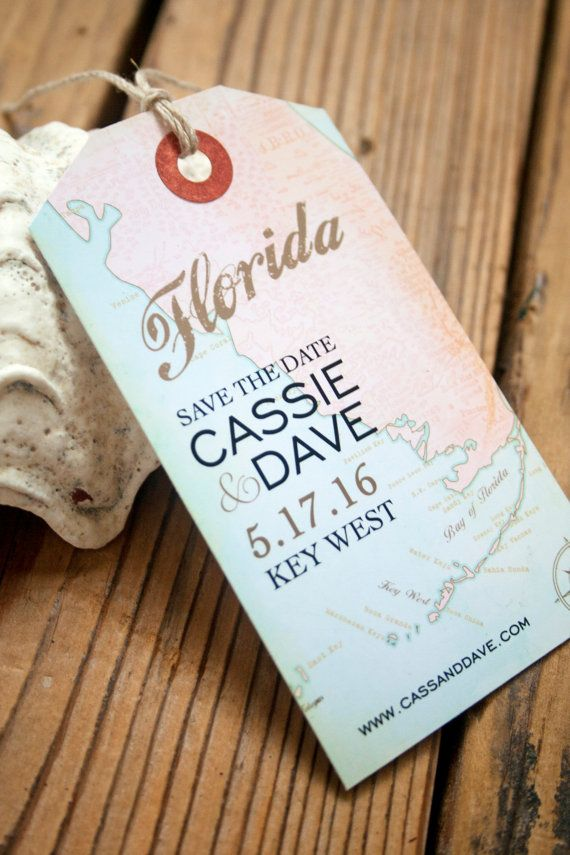Florida Luggage Tag Magnets - Key West Map - Save the Dates by www.mavora.com