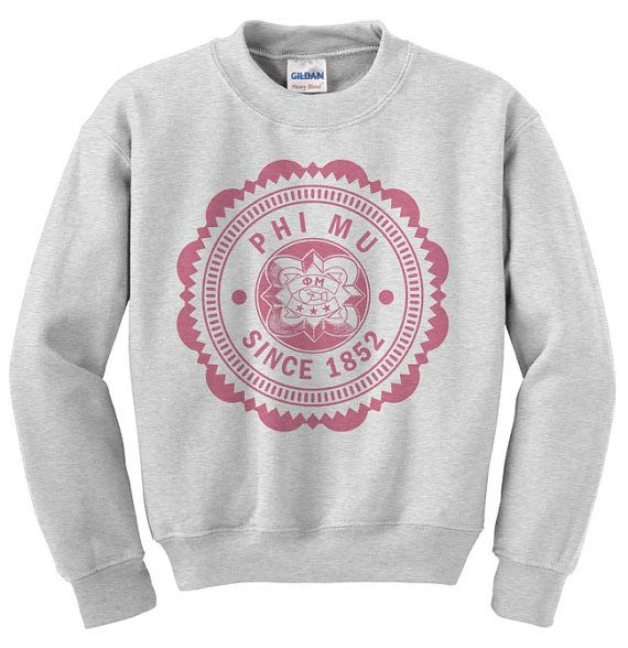Phi Mu Seal Crewneck Sweatshirt on sale for $34.95! Youll find the best selection & lowest prices on sorority crewnecks at Greek Gear! Comes in four colors