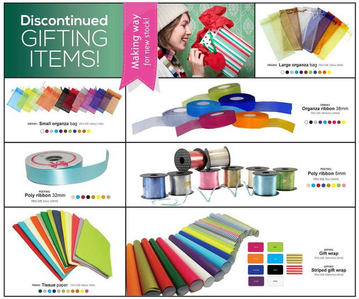 Large organza bag - R 8.38 Small organza bag - R 6.26 38mm Organza ribbon - R 80.00 32mm Poly ribbon - R 16.00 5mm Poly ribbon - R 8.00 Tissue paper - R 18.00 Plain gift wrap - R 100.00 Striped gift wrap - R 110.00  All prices exclude VAT No minimum order  Valid till: 24 November 2013