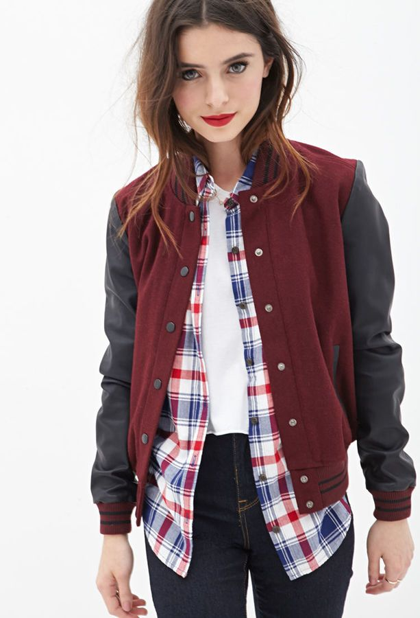 FOREVER 21 Faux Leather Varsity Jacket is on sale now for - 25 % ! I WANT I WANT I WANT I WANT I WANT I WANT!!!