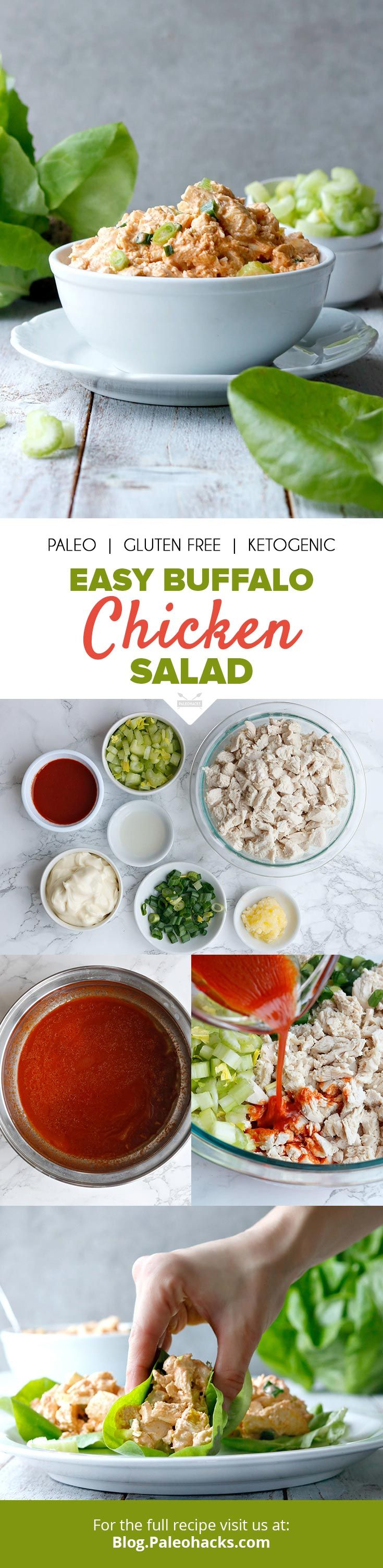 All the flavor of buffalo wings in one healthy chicken salad! Bonus: It's keto and Paleo-friendly, too! Get the full recipe here: http://paleo.co/buffalochucksalad