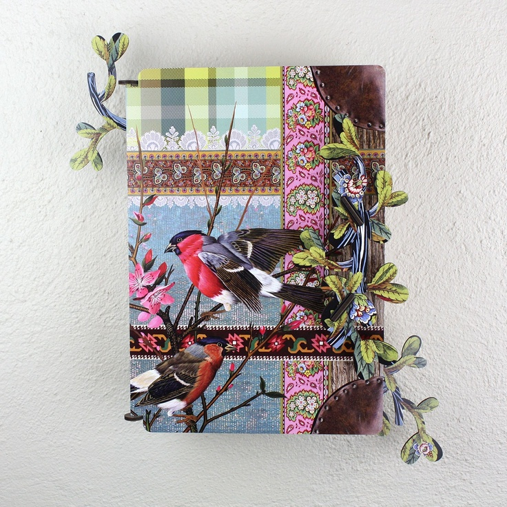 'Lucky You' Key Box / Cabinet from Juniper Hearth. Perfect for an entry hall or even for little treasures in a nursery. Bird, check and floral design. $89.