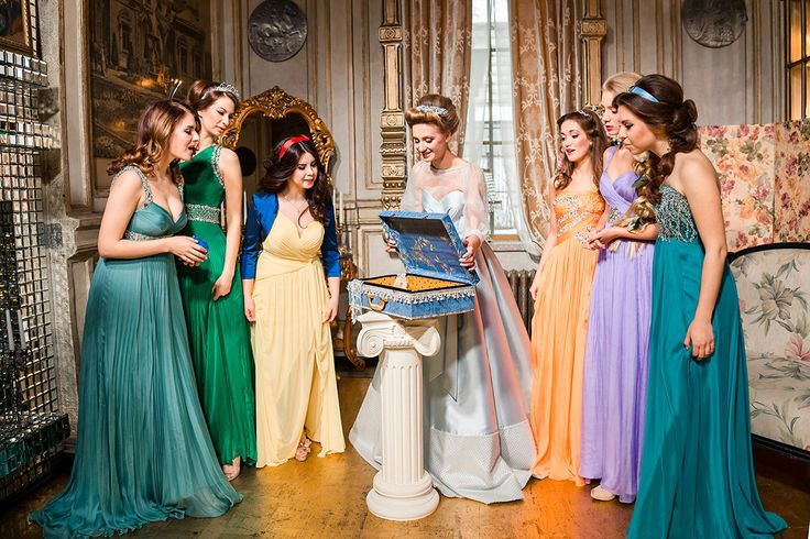 Disney princesses themed dresses for bridesmaid | 12 Unconventional Ways to Style Your Bridesmaids | http://www.bridestory.com/blog/12-unconventional-ways-to-style-your-bridesmaids