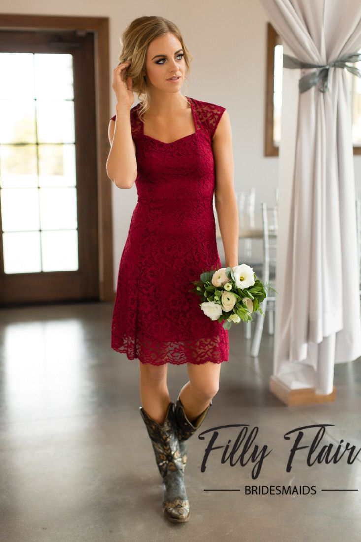 The perfect and classic dress for any wedding and any season! This beautiful lace bridesmaid dress is complete with a capped sleeve and a cut out back, making this one unforgettable burgundy bridesmai