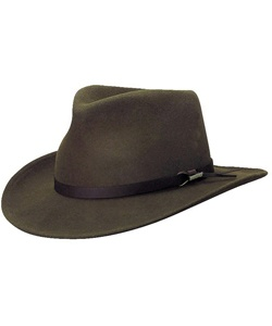 """Inspired by Australian Outback adventures, our hat stands up to the same rigors of travel be it down under, or a little closer to home. 100% crushable wool effectively maintains its shape if rolled, folded, or smashed. 3"""" brim repels water and keeps the sun off your face. Bonded leather band adds distinctive touch. Cotton lining promotes breathability. #woolrich1830"""