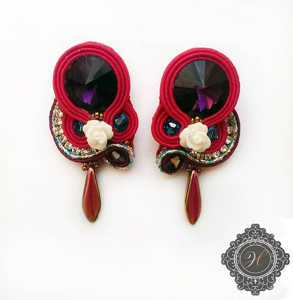 Purple and red mini  soutache handmade earrings with rose