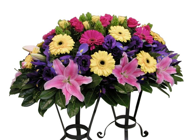 Casket including oriental lilies, gerberas, roses and iris - Donvale Flower Gallery