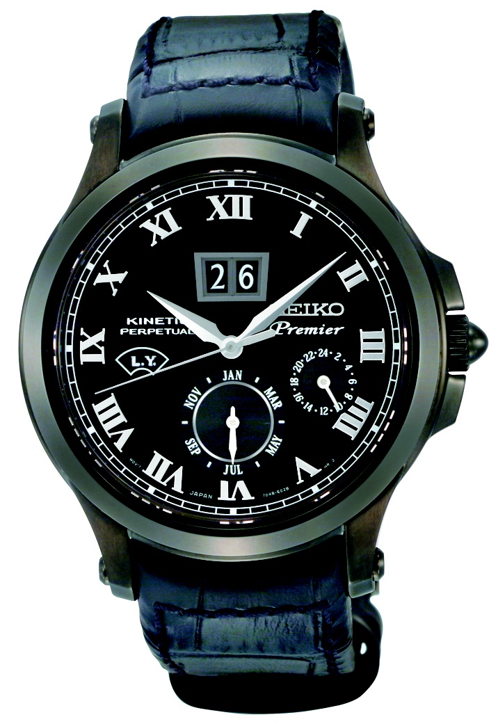 Seiko Premier, Kinetic Direct Drive Watch, With leather strap and silver accents, SNP045  www.SeikoUSA.com