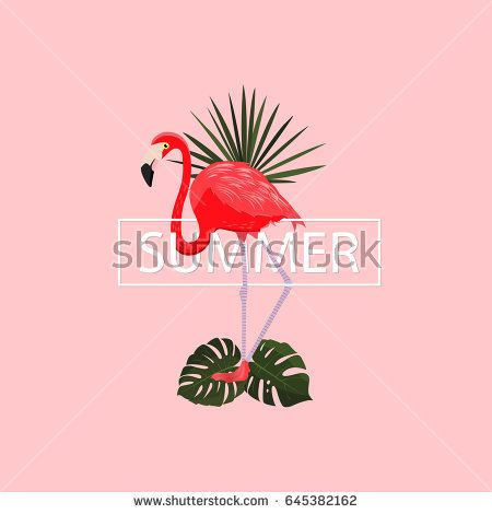 Summer tropical poster. Vector illustration.Summer pink background with elegant trendy flamingo and tropical leaves. Exotic bird. Graphic design element. For summer sale, poster. Typography and frame.