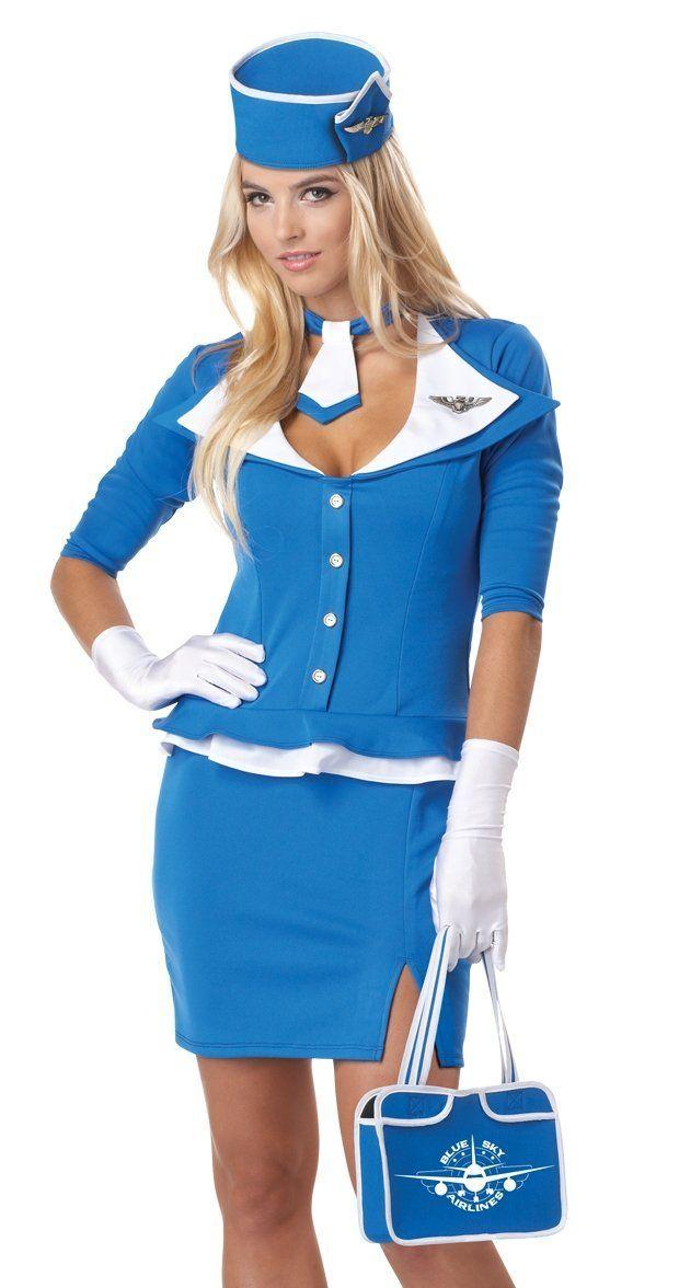 Womens 60S Stewardess Adult Halloween Costume  Halloween -8473