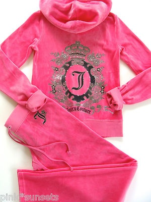 Juicy Couture Velour Pink Garden Cameo Tracksuit