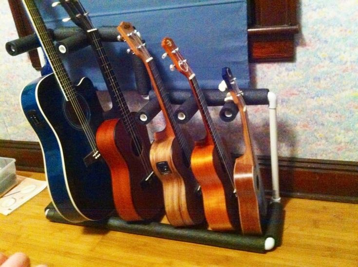 a multiple instrument stand for under 15 pvc pipe and foam covering has guitar baritone uke. Black Bedroom Furniture Sets. Home Design Ideas
