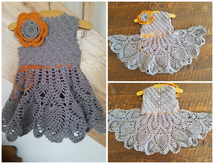 This dress is so darling cute, I love the combination of cool gray color with warm orange accent! Thank you Becky Lynn for testing this pattern for us & your beautiful photos!  Pattern from: https://irarott.com/Dream_Christening_Gown_Crochet_Pattern.html
