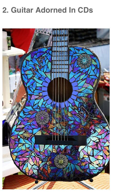 Use old CDs to decorate objects with mosaics- instruments, tissue boxes, table tops, Xmas ornaments, even hats and shoes!