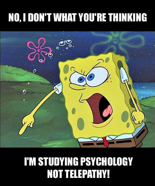 Angry Spongebob Meme. The psychology student version.