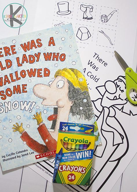FREE Cold Lady Who Swallowed Some Snow Cut & Paste Sequencing Activity. This kindergarten worksheet is great for helping kids improve fine motor skills, and as an extension activity for this fun winter book for kids.