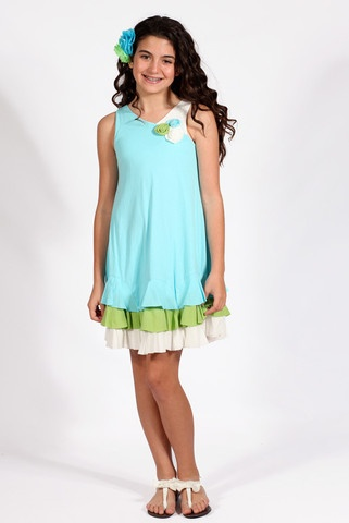 Bunnies Picnic - Isobella and Chloe Spring Rain Sleeveless Dress for Tweens - Girls Boutique Clothes