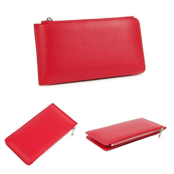 Men Women RFID Genuine Leather Long Wallet Credit Card Holder Zipper Wallet
