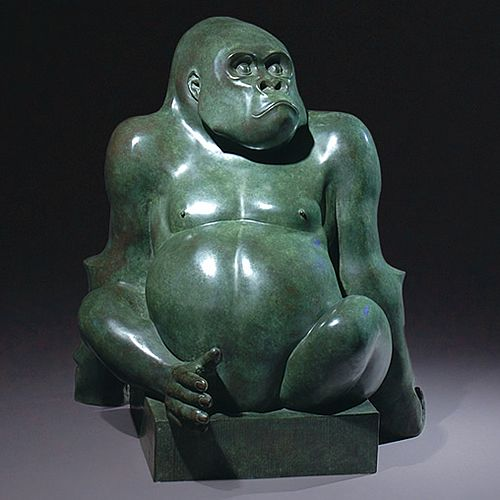 A Gorilla portrayed in a Buddha-like pose. This work of art has been exhibited at some of the major European and british art fairs, and has attracted wide attention from the art collecting fraternity. An edition of nine.